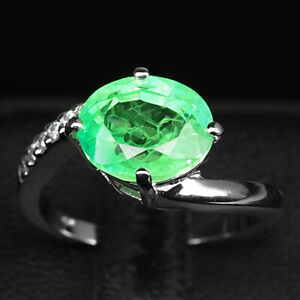 Emerald Green Oval 4.90 Ct.Sapp 925 Sterling Silver Ring Size 7.25 Jewelry Women