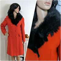 Vintage 60s Red Fur Collar Wool Double Breasted Coat Military Mod Chic 10 12 38