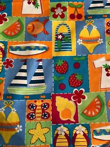 Beach Themed Cotton Fabric  Blue,Yellow,Orange Green Shimery Silver - By theYard
