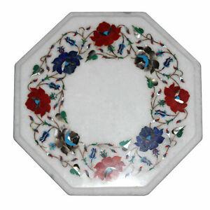 "12"" Marble Corner Table Top Semi Precious Stones Inlay Work Handmade Home Decor"