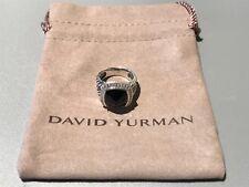 DAVID YURMAN 11MM Albion Sterling Silver Ring With Black Onyx & Diamonds Sz. 5.5