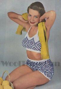 Knitting Pattern Lady's Vintage 1950s Halter Neck Bikini Top & Shorts.