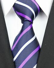 Purple and Navy Striped Silk Classic Woven Horse Show Tie *New*