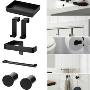 Ikea SKOGSVIKEN Black Towel Holder & Hook For Small Storage Bathroom Accessory
