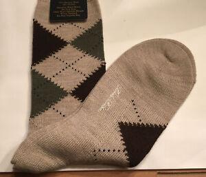 NWT Brooks Brothers Mens Tan/Brown Argyle Merino Wool Socks Size 7-12 ENGLAND