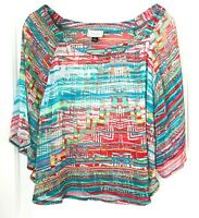 About A Girl Crop Top Blouse Womens Size L Short Sleeve Semi Sheer striped