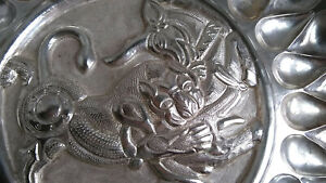 Middle eastern Persian .875 Silver Wall Tray Lion And Bull 829g
