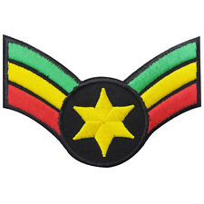 10 cm. Star Army Sergeant Jah Rasta Chevrons Major Reggae Iron on Patches #R109