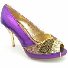 Zapatos de fiesta para mujeres Diamante Boda Tacón Alto de graduación Peeptoe Sandalias Talla Y1001-C7