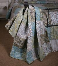 Quilt Throw Vintage Paisley Patchwork Cotton Lap Blanket