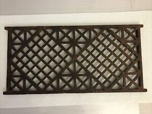 """Antique Vintage Large Cast Iron Grate, 16"""" x 8"""" Art Deco/Rusty"""