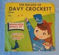 The Ballad Of Davy Crockett 78 RPM Record And Jacket Vintage Peter Pan Records