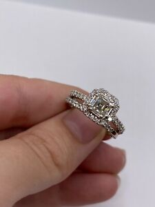 Solid 14k Gold Engagement Ring with Certified 1.01ct VS1 Asscher Diamond