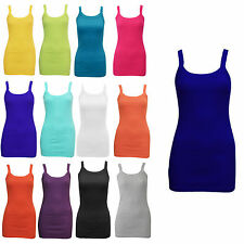 Womens Plain Ribbed Stretchy Vest Top Ladies Rib Strap T-Shirt Sizes 8-14 £1.89