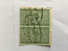 GB UK REVENUE QV Judicature Fee 3 Shilling Block green on Paper Fiscal cancel