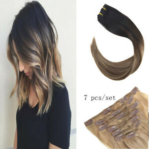 Sunny 7pcs Remy Clip in Human Hair Extensions Balayage Brown to Blonde 1b/4/18#