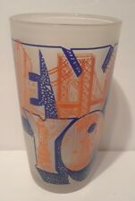 Vintage New York City RCA Building Glass Tumbler Orange Blue Mod Kitsch Souvenir