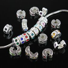 5PCS Crystal Rhinestons Stoppers Locks Clips Charms Beads Fit Bracelet Findings
