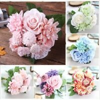 Silk Artificial Rose Fake Flowers Bunch Bridal Bouquet Wedding Home Party Decor