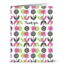 24 Note Cards - Forest Flowers Thank You on White - Gray Envs