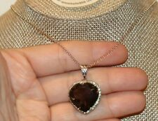 "STERLING 925 13CTS HEART SHAPE SMOKEY QUARTZ W/ PERIDOT ACCENTS 8.1GMS 24""LChain"