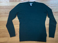 H&M Green Long Sleeve Casual Crew Neck Textured Lightweight Knit Top Size Small