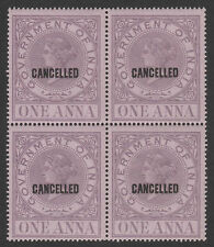 India 4384 - 1869 REVENUE 1a opt'd CANCELLED block of 4  unmounted mint