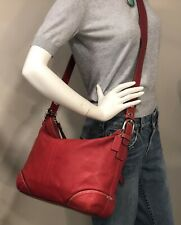 COACH Beautiful Large Red Leather Convertible Crossbody Shoulder Bag #12324