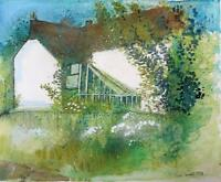 NINA CARROLL (1932-1990) Watercolour Painting HOUSE IN LANDSCAPE 1978