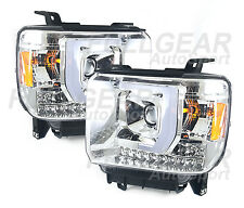 CHROME w/ CLEAR LED TUBE BAR PROJECTOR HEADLIGHT FOR GMC SIERRA 1500 2014-2015
