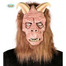 Maschera Lattice Diavolo con Capelli Adulto Demonio Halloween Carnevale Nuovo
