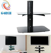 Black Glass Floating TV Wall Mount Bracket 2-Shelf DVD player Sky Box PS3 game