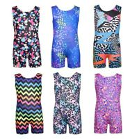 Kids Girls Print Shiny Gymnastics Leotards Sport Training Ballet Dance Tank Suit