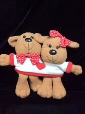 "Avon Dogs In T-shirt Plush White Heart Brown Vintage 6"" Together"