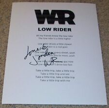 LONNIE JORDAN SIGNED AUTOGRAPH WAR LOW RIDER LYRICS SHEET