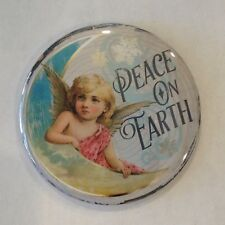 """Christmas Magnet Peace On Earth Vintage Style 2 1/4"""""""