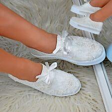 Mujeres Plana Zapatos De Plataforma Satén Floral Encaje Marfil Gótico Punk Nupcial Zapatillas Tamaño