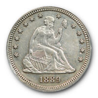 1889 25C Seated Liberty Quarter ANACS PF 53 Proof Details Key Date Tough Coin