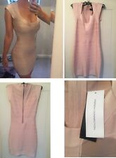 french connection bodycon bandage nude light pink dress S/8