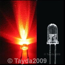 100 x LED 5mm Red Water Clear Ultra Bright - FREE SHIP