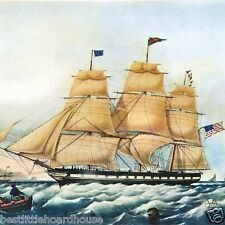 Vintage Original PACKET SHIP SHACKAMAXON Clipper Art Lithograph Print 1920s NOS