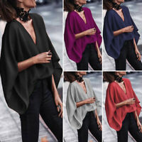 UK 8-24 Women Ladies V Neck Batwing Sleeve Loose Blouse Casual T Shirt Top Tunic