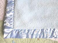 Just Born Thank Heaven for Little Boys Blue Sherpa Plush & Satin Baby Blanket EU
