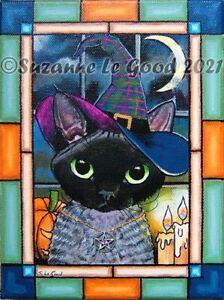 Devon Rex cat Witch art painting canvas original painting by Suzanne Le Good