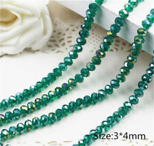 Diy Jewelry Faceted 146pcs 3*4mm Rondelle glass Crystal Beads Peacock green AB