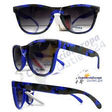 OCCHIALI DA SOLE VINTAGE MIMETICI BLU ELETTRICO CAMOUFLAGE BLUE UV400