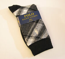 Ralph Lauren Ladies Socks Wool Blend Bias Plaid Black / Grey - NEW