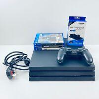 PS4 PRO 1TB Console Bundle One Controller Dock 3 Games Black Bundle Playstation