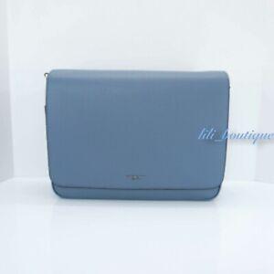NWT Michael Kors Bryant Large EW Messenger Tablet Bag Leather Light Denim Blue