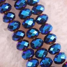 6x4 mm, bleu opaque naturel facetté cristal ,perles lâches , 98pcs
